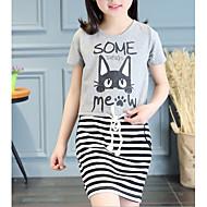 女の子の 日常 ストライプ 幾何学模様 コットン ドレス 夏 半袖 キュート グレー