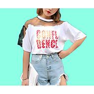 Mulheres Camiseta Fofo Com Transparência Patchwork, Sólido Letra Algodão