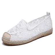 baratos Sapatos Femininos-Mulheres Sapatos Tule Primavera Verão Alpargata Rasos Sem Salto Ponta Redonda Branco / Preto