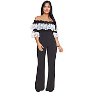 Women's Plus Size Going out Street chic Loose Jumpsuit - Color Block, Lace Embroidered Patchwork Wide Leg Boat Neck