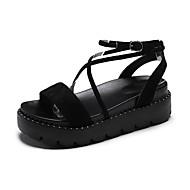 Žene Cipele PU Ljeto Udobne cipele Sandale Hodanje Kockasta potpetica Okrugli Toe Štras za Kauzalni Obala Crn Žutomrk