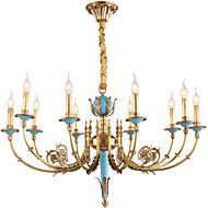 billige Bestelgere-ZHISHU 10-Light Candle-stil Lysekroner Opplys Messing Metall Krystall, Mini Stil 110-120V / 220-240V Pære Inkludert