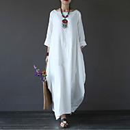 levne -Dámské Větší velikosti Dovolená Bavlna Volné Swing Šaty - Jednobarevné Maxi Bílá