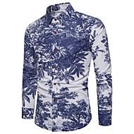 Bomull / Lin Opprett krage Skjorte Herre - Blomstret, Trykt mønster Bohem / Chinoiserie Klubb / Langermet