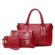 お買い得  バッグ-女性用 バッグ PU バッグセット 3個の財布セット パターン/プリント ブラック / ルビーレッド / Brown