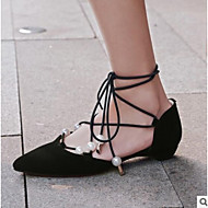 cheap Women's Flats-Women's Shoes Leather Spring Fall Comfort Flats Flat Heel Pointed Toe Ribbon Tie for Casual Black