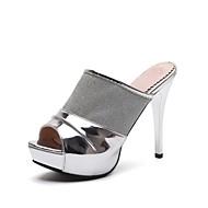 cheap -Women's Shoes Tulle / Leatherette Summer Slingback Slippers & Flip-Flops Stiletto Heel Peep Toe White / Black / Silver