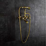 お買い得  浴槽用蛇口-浴槽用水栓 - アンティーク Ti-PVD 壁式 真鍮バルブ / 二つのハンドル二つの穴