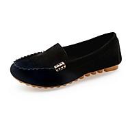 baratos Mocassins Femininos-Mulheres Sapatos Pele Nobuck Primavera Outono Mocassim Conforto Mocassins e Slip-Ons Sem Salto para Preto Amarelo Fúcsia