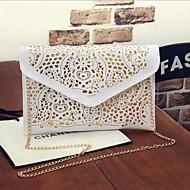 baratos Clutches & Bolsas de Noite-Mulheres Bolsas PU Bolsa de Mão Ziper Branco Leite / Fúcsia / Khaki