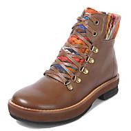 baratos Sapatos Femininos-Mulheres Pele Outono / Inverno Conforto / Coturnos Botas Salto Robusto Botas Curtas / Ankle Café / Khaki