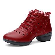 baratos Sapatilhas de Dança-Mulheres Tênis de Dança Couro de Gado Têni Sem Salto Personalizável Sapatos de Dança Branco / Preto / Vermelho Escuro / Ensaio / Prática