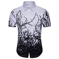Heren Standaard Grote maten - Overhemd Geometrisch Wit XL / Korte mouw / Zomer