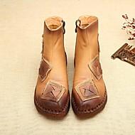 baratos Sapatos Femininos-Mulheres Sapatos Pele Outono / Inverno Coturnos Botas Salto Baixo Ponta Redonda Botas Curtas / Ankle Amarelo / Marron / Verde