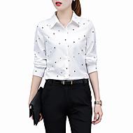 Women's Work Plus Size Shirt - Geometric Shirt Collar White XXL / Spring / Summer