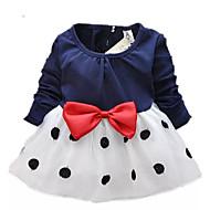 فستان طويلة كم طويل منقط / بقع أسود و أبيض ذهاب للخارج نقطة / شريطة فتيات طفل صغير