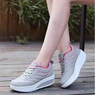 baratos Sapatos Femininos-Mulheres Couro Ecológico Primavera / Outono Conforto Tênis Sem Salto Ponta Redonda Branco / Preto / Cinzento