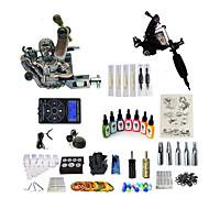 baratos Kits de Tatuagem para Iniciantes-BaseKey Máquina de tatuagem Conjunto de Principiante - 1 pcs máquinas de tatuagem com 7 x 15 ml tintas de tatuagem, Nível Profissional, Profissional Liga LCD de alimentação No case 20 W 2 x máquina