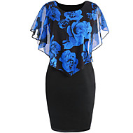 cheap -Women's Floral Daily Basic Bodycon Dress - Floral Print Spring Blue Red Blushing Pink XXXL XXXXL XXXXXL