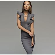 فستان نسائي ضيق أساسي قطن طول الركبة ضيق لون سادة منخفضة V رقبة مناسب للحفلات / كشكش