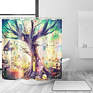 cheap Shower Curtains-Shower Curtains & Hooks Modern Country Polyester Contemporary Novelty Machine Made Waterproof Bathroom