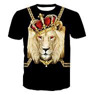 Χαμηλού Κόστους -Ανδρικά Μεγάλα Μεγέθη T-shirt Βασικό - Βαμβάκι Ζώο Στρογγυλή Λαιμόκοψη Στάμπα / Κοντομάνικο / Μακρύ
