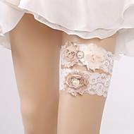 baratos Ligas para Noivas-Chiffon Renda Fashion Casamento Wedding Garter  -  Pedrarias Perola Imitação Ligas Casamento Festa