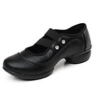 billige Dansesneakers-Dame Dansesko Kalveskinn Joggesko Tvinning Flat hæl Kan spesialtilpasses Dansesko Svart / Rød / Trening