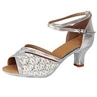 baratos Sapatilhas de Dança-Mulheres Sapatos de Dança Latina Paetês / Courino Salto Lantejoulas / Presilha Salto Cubano Personalizável Sapatos de Dança Prata