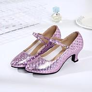 billige Moderne sko-Dame Moderne sko Kunstlær Høye hæler Kustomisert hæl Kan spesialtilpasses Dansesko Gull / Sølv / Lilla / Innendørs