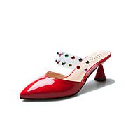 preiswerte -Damen Schuhe PU Sommer Komfort Cloggs & Pantoletten Blockabsatz Runde Zehe Strass Schwarz / Rot / Mandelfarben