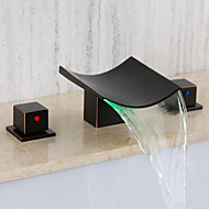 cheap Bathroom Sink Faucets-Bathroom Sink Faucet - Waterfall Widespread Oil-rubbed Bronze Wall Mounted Two Handles Three Holes
