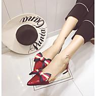 baratos Sapatos Femininos-Mulheres Sapatos Couro Ecológico Primavera Shoe transparente Rasos Sem Salto Dedo Apontado Laço Preto / Vermelho / Amêndoa