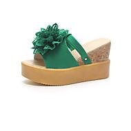 cheap Women's Slippers & Flip-Flops-Women's Shoes Nubuck leather Summer Comfort Slippers & Flip-Flops Wedge Heel Round Toe for Casual Black Beige Green