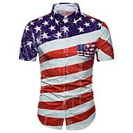 Men's Basic Plus Size Shirt - Geometric Red XL / Short Sleeve / Summer