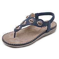 Mujer Zapatos PU microfibra sintético Verano Innovador Sandalias Tacón Plano Dedo redondo Pedrería / Cristal Negro / Almendra OpFJfl39X