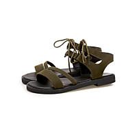 baratos Sapatos Femininos-Mulheres Com Laço Camurça Verão Curta / Ankle Sandálias Caminhada Salto Baixo Ponta Redonda Preto / Verde