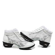 billige Dansesneakers-Dame Dansesko / Ballett Blonder / Lær Joggesko / Splitt såle Snøring Lav hæl Kan ikke spesialtilpasses Dansesko Svart / Hvit