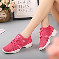baratos Sapatilhas de Dança-Mulheres Tênis de Dança Tule Têni Sem Salto Personalizável Sapatos de Dança Preto / Fúcsia / Vermelho