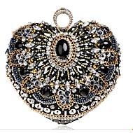 baratos Clutches & Bolsas de Noite-Mulheres Bolsas Poliéster Bolsa de Festa Detalhes em Cristal Preto
