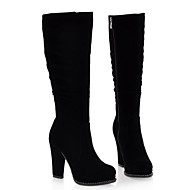 cheap -Women's Shoes Nubuck leather Winter Comfort / Fashion Boots Boots Chunky Heel Knee High Boots Black
