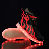 tanie Obuwie dziewczęce-Dla chłopców / Dla dziewczynek Obuwie Tiul / PU Wiosna Świecące buty Adidasy LED na Czarny czerwony / Czarny zielony / Biały / Niebieski