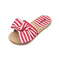 baratos Sapatos Femininos-Mulheres Sapatos Couro Ecológico Primavera / Verão Conforto / Solados com Luzes Rasos Sem Salto Ponta Redonda Laço Preto / Vermelho / Azul
