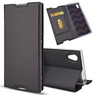 billiga Mobil cases & Skärmskydd-fodral Till Sony Xperia Z5 Mini / Xperia XZ Korthållare / med stativ / Lucka Fodral Enfärgad Hårt PU läder för Sony Xperia Z5 / Sony Xperia Z5 Compact / Z5 Mini