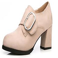 お買い得  人気靴-女性用 靴 ラバー 秋 コンフォートシューズ ブーツ ローヒール ポインテッドトゥ のために アウトドア ブラック アーモンド ライトブラウン