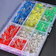 billige belysning Tilbehør-ZDM 500 stk 5mm LED-lysdioder Elektroniske komponenter rundt 5 farger (rød / grønn / blå / gul / kald hvit)