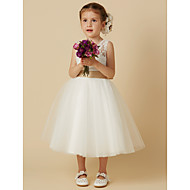 cheap -Princess Knee Length Flower Girl Dress - Lace / Tulle Sleeveless Jewel Neck with Bow(s) / Sash / Ribbon by LAN TING BRIDE®