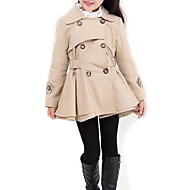 Kids Girls' Street chic Daily Solid Colored Long Sleeve Long Polyester Trench Coat Pink