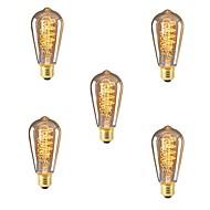 baratos Incandescente-5pçs 40W E26/E27 ST64 Branco Quente 2200-2700k K Retro Regulável Decorativa Incandescente Vintage Edison Light Bulb 220-240V