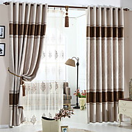 cheap Curtains Drapes-Curtains Drapes Bedroom Color Block Cotton / Polyester Embossed